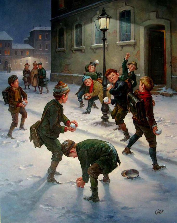 День нефтяной, открытки игра в снежки