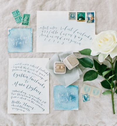 Elegant watercolor invitations: http://www.stylemepretty.com/little-black-book-blog/2015/04/14/elegant-spring-garden-wedding-inspiration/ | Photography: Sarah Bradshaw - http://sarahbradshawphotography.com/: