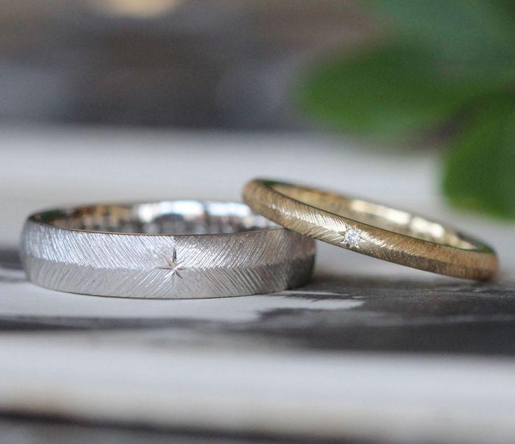 繊細な飾り彫り:羽模様の結婚指輪 [マリッジリング,marriage,wedding,bridal,ring,オーダーメイド,ith,Pt900,K18,gold,プラチナ,ゴールド]