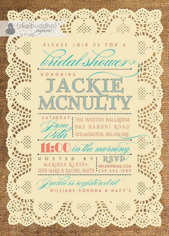 Lace Burlap Bridal Shower Invitation