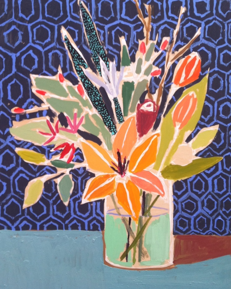 Lulie Wallace - love the hexagonal and imperfect background pattern