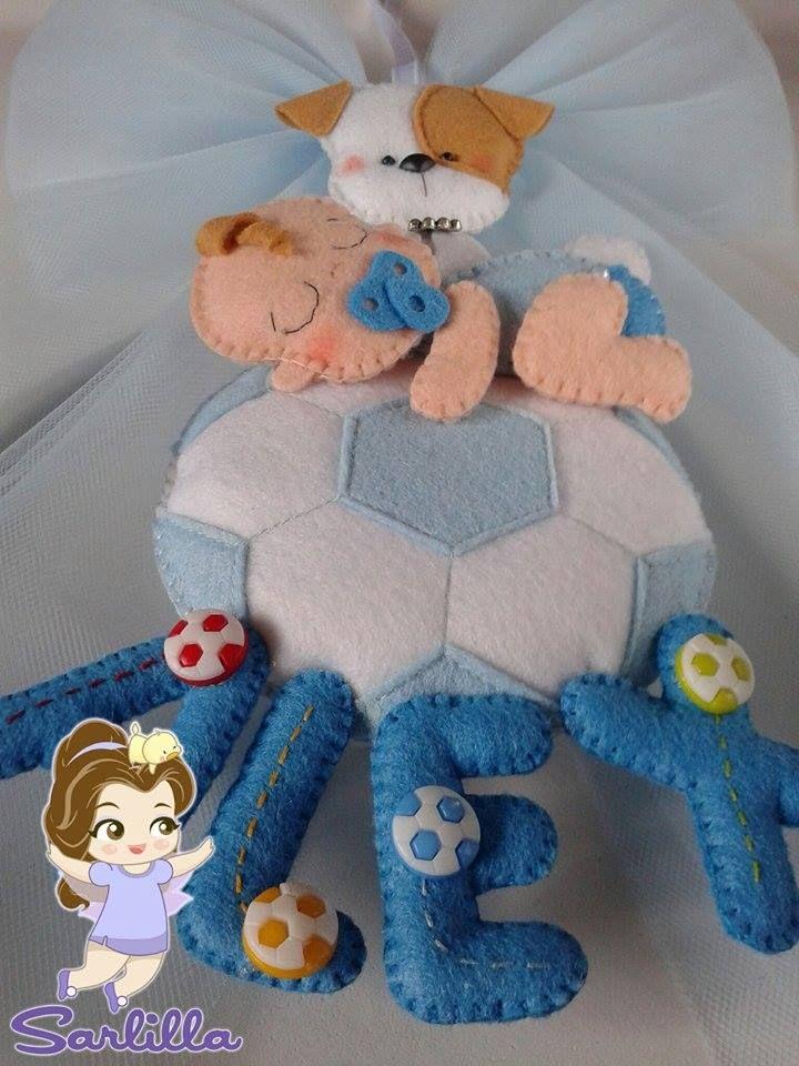 Le creazioni di Sarlilla: Fiocco nascita bebè su pallone con amico a 4 zampe