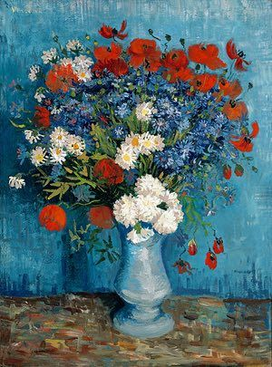 SUMMER: Still life with wildflowers and carnations (summer 1887) - When Van Gogh was in Paris in the summer of 1887, he painted about 35 flower pictures, including this work featuring seasonal blooms. Its high-keyed colour contrasts reveal the results of his two-year quest for chromatic brilliance.   Photograph: private collection