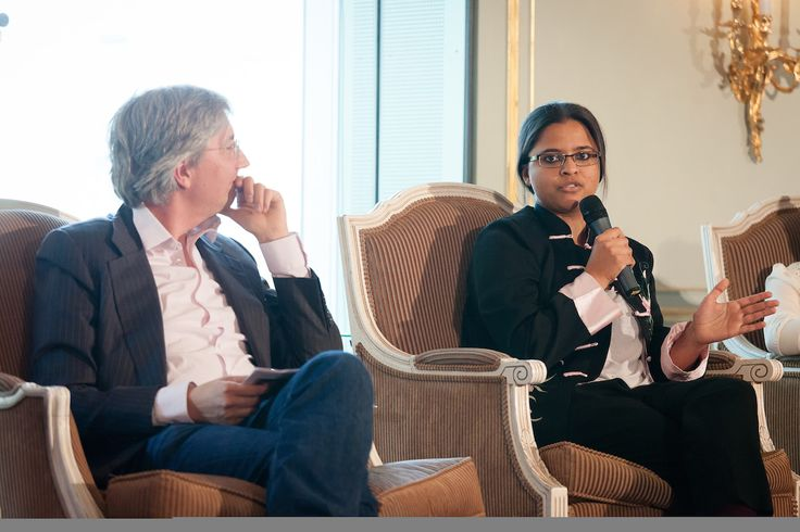 """Bard College Berlin student Mathujitha Sankaran (Singapore, '14) discusses with professionals from the cultural field during the forum """"Quality is not Local,"""" held at the Kempinski Adlon Hotel Berlin in June 2014 (photo by Aurelio Schrey)"""