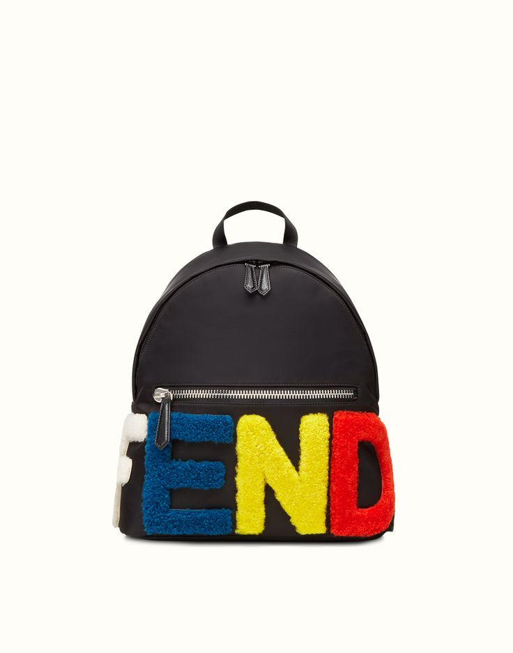 FENDI   BACKPACK in black nylon with inlay