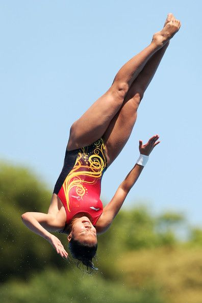 Han Wang of China competes in the Women's 1m Springboard Diving final on day four of the 15th FINA World Championships at Piscina Municipal de Montjuic on July 23, 2013 in Barcelona, Spain.