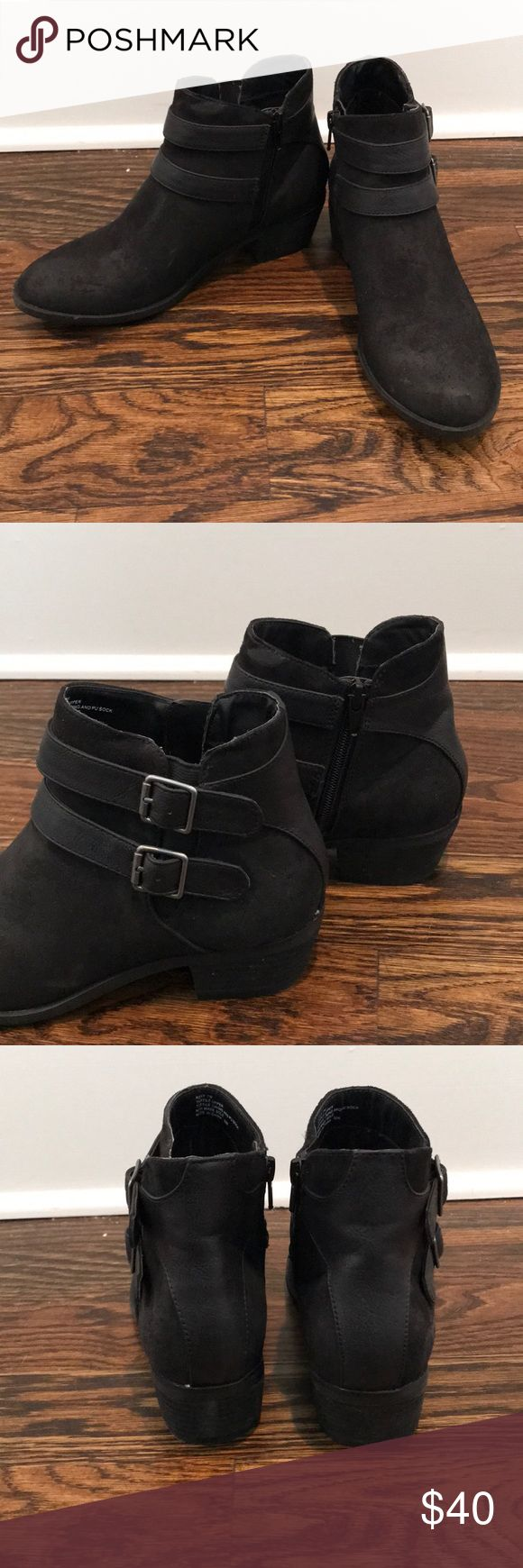 Black Zip Up Booties Only worn once! About 1.5 inch heel. Faux suede material. Madden Girl Shoes Ankle Boots & Booties
