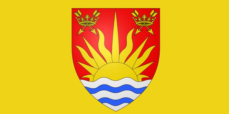 Suffolk (England) flag (note prominent sun rising over the sea)