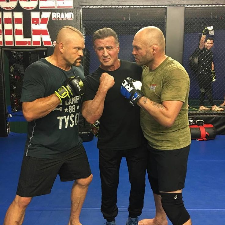 "The Iceman, Rocky, and The Natural - Too many Legends for one Frame to handle. Chuck Liddell, Rocky, Randy ""The Natural"" Couture Sylvester Stallone - Xtreme Couture MMA #RDXSports #MMA #Legends #Boxing #RockyBalboa"