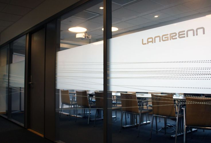 Glass film meeting room, frosted, white dotted lines. Read more about the project.