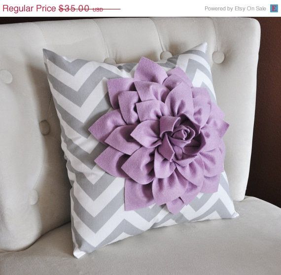 MOTHERS DAY SALE Lilac Dahlia on Gray and White Zigzag Pillow -Decorative Chevron Pillow-