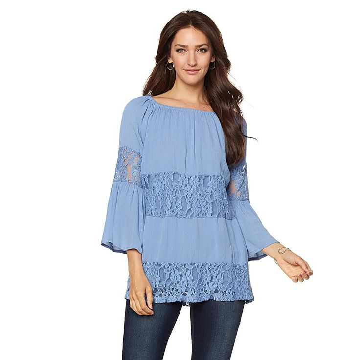 Curations Caravan Lace Inset Tunic - Blue