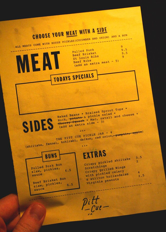 great solution for a bbq place where the menu changes daily