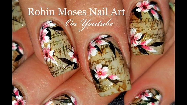 Faux Vintage Newsprint and Flowers Nails | Antique Nail Art Design Tutorial - YouTube