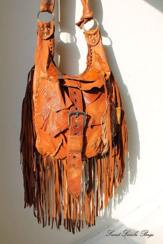 Rusted orange leather bag fringe fringes by SweetSmokebags on Etsy
