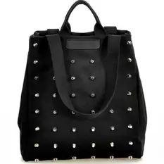 กระเป๋าถือผู้หญิง สไตย์ punk rivet ผ้าหนา (สีดำ)