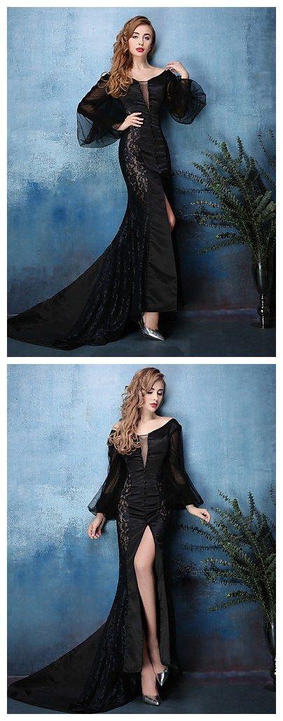 Sexy Mermaid V-neck Court Train Lace dress. Perfect evening look for Thanksgiving night! Get it in our best #Black Friday sales.