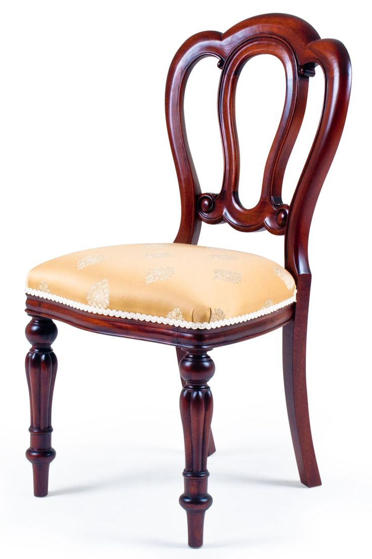 Antique victorian dining chairs - An Early Victorian Balloon Back Dining Chair With Shaped Top Rails Open Carved Back And