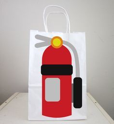 Firetruck Goody Bags, Fire Extinguisher Goody Bags, Firetruck Favor Bags, Fireman Birthday Goody Bags, Firefighter Goody Bags by CraftyCue on Etsy