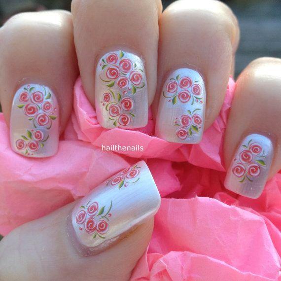 Uñas envuelve Nail Art agua transfiere calcomanías - melocotón Rose pequeños brotes uñas YD076