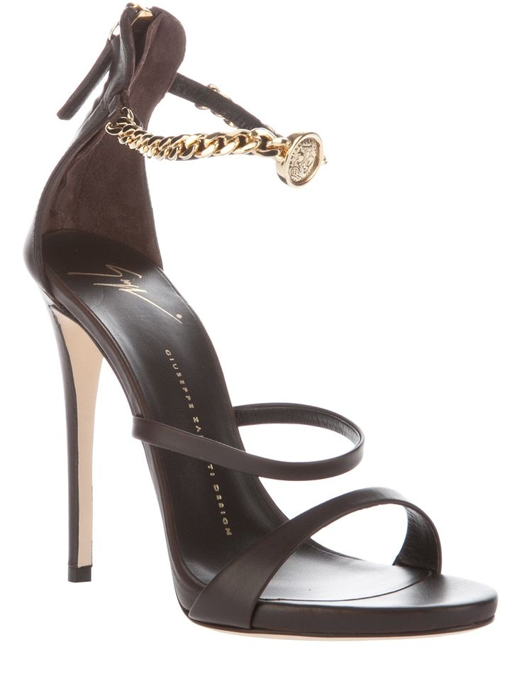 Giuseppe Zanotti Design Stiletto Sandal Gold-Tone Chain Ankle Strap #Shoes #HighHeels