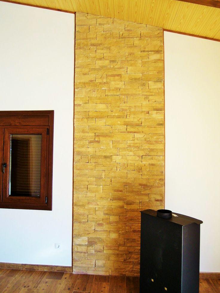 Piedra decorativa para interior casas de acero y hormigon - Piedra decorativa pared ...