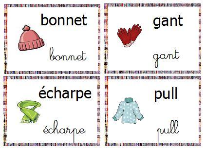 vocabulaire mur de mots hiver