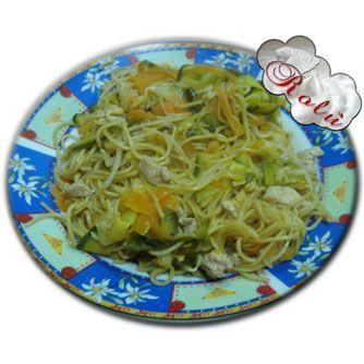 Spaghetti cinesi al pollo e verdura   http://www.incucinaconrolu.it/lista-news/11-primi/44-spaghetti-cinesi-al-pollo-e-verdura
