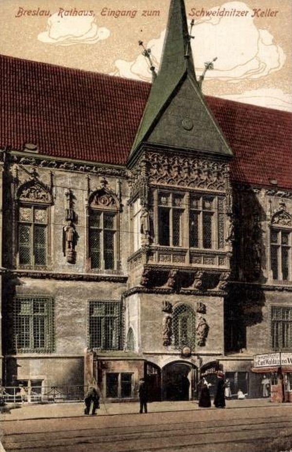Wejście do Piwnicy Świdnickiej (Schweidnitzer Keller - Eingang), Wrocław - 1915 rok, stare zdjęcia