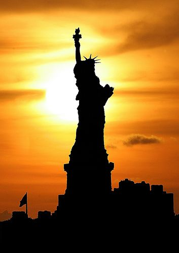 Liberty at sunset  New York New York ! I wept first time I saw her . . .
