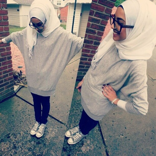 #casual #hijab #love her sweater & nerdy steve urkle glasses