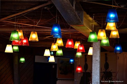Lights inside a beach pavillion in Oostvoorne, The Netherlands