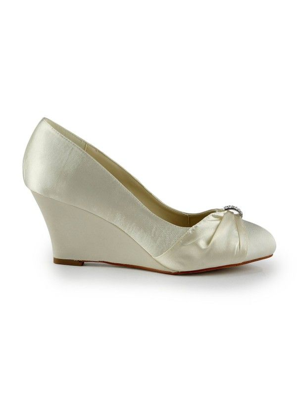 23779f48c711 Women s Satin Wedge Heel Wedges With Rhinestone Ivory Wedding Shoes - Shoes  - Hebeos Online