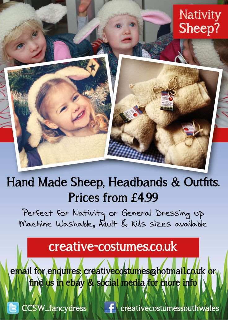 Handmade sheep, headbands or outfits, Nativity, Rugby or General Fancy dress!
