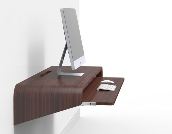 float wall desk minimal home office concept by orange22 design lab via behance