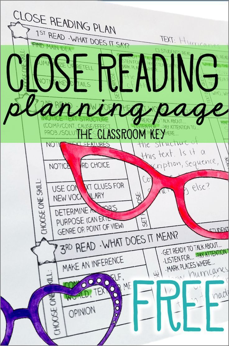 This free close reading planning page makes it easy to teach close reading strategies using any text