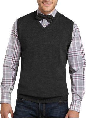 Pronto Uomo Charcoal Merino Sweater Vest - Sweater Vests   Men's Wearhouse
