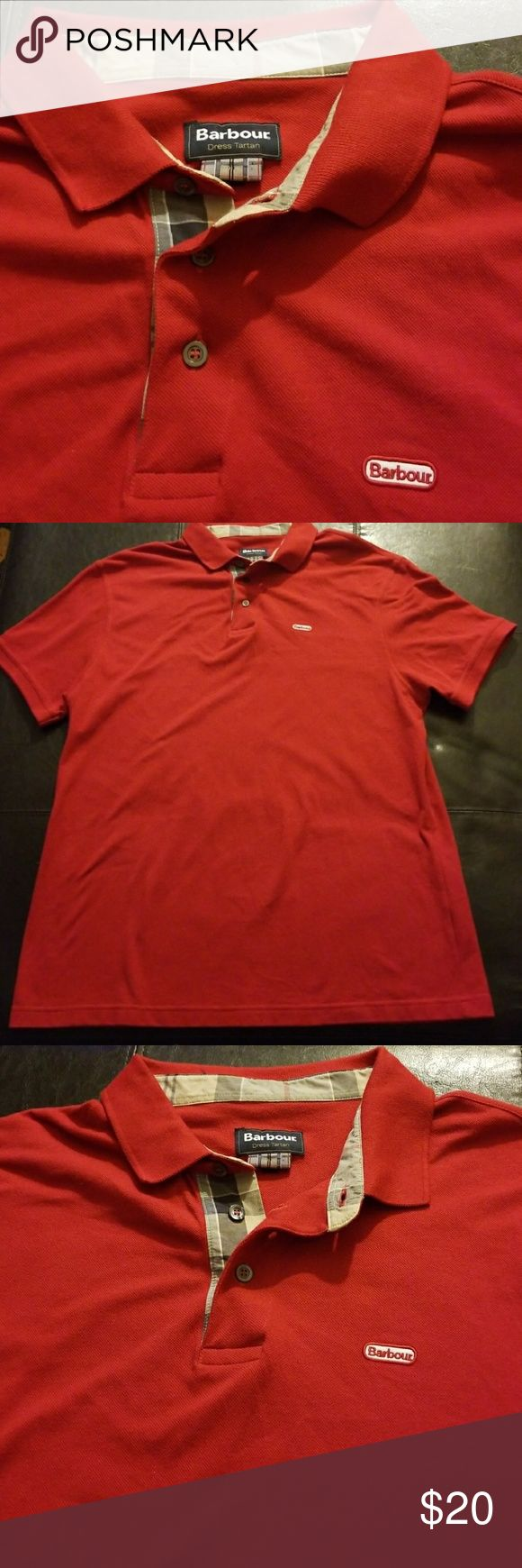 Barbour Red Polo Shirt Barbour red polo shirt with tan plaid print at the neckline. Size XXL (Bin 12) Barbour Shirts Polos