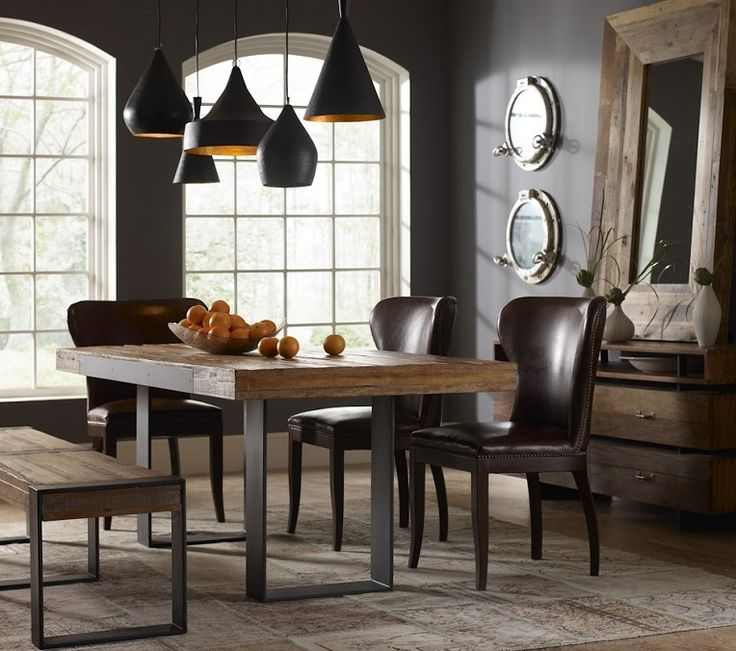 Furniture, : Impressive Dining Room Decoration Using Rectangular Oak Reclaimed  Wood Dining Table Along With Dark Brown Leather Dining Chair And Dark Grey  ...