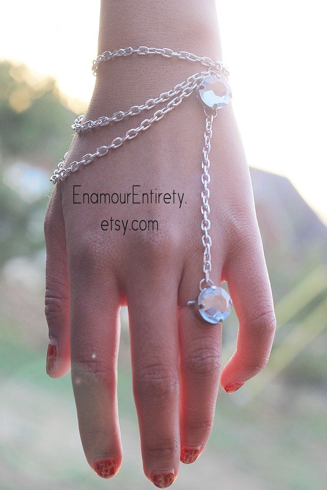 Silver+Blue+Gem+Slave+Bracelet+by+EnamourEntirety+on+Etsy,+$13.00