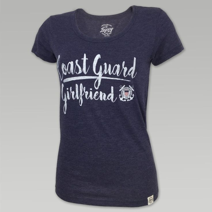 "You won't find a better ""basic"" tee in this ultra-soft, 4.3 oz heathered tri-blend fabric providing premium comfort and breath ability; while the set-on collar and reverse stitch details add retro authenticity.  &nbsp  50% poly, 25% cotton, 25% rayon True to size ladies fit Screen print ""Coast Guard Girlfriend"" with CG Seal design on front"