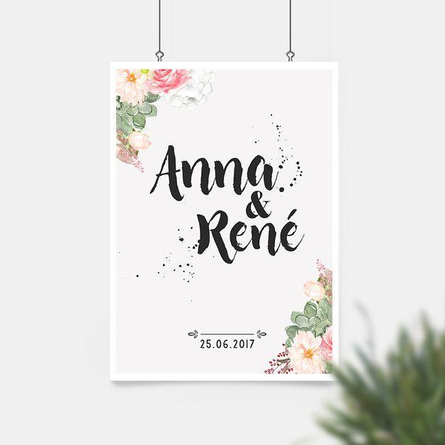 **Dieser Artprint fühlt sich auf einer Hochzeit ganz besonders wohl! Nenne uns bei der Bestellung die Vornamen des Hochzeitspaars und erwarte voller Vorfreude das Ergebnis :-)** **Größe** Der...