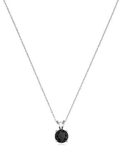 #blackdiamondgem 14k White Gold Black Diamond Solitaire Pendant Necklace (1 cttw)by Amazon Collection