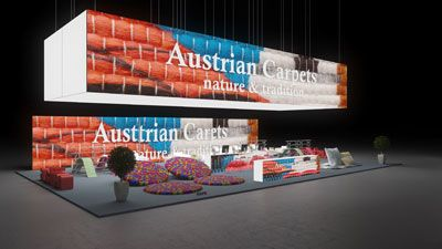 348 Teppichböden Austrian Carpets | Auffälliger Messestand für einen Hersteller von Teppichböden.   Das abgehängte Deckenring mit farbigem Textilmuster und Logodruck ist ein Hingucke...
