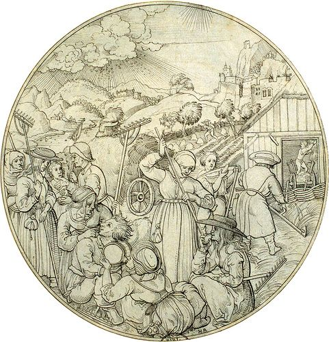 Augsburg June. 12 Augsburger Monatsbilder als Scheibenrisse. Die Originale wurden von dem Augsburger Maler Jörg Breu d.Ä. [1475/80 bis 1537] erstellt. Bis auf zwei sind die Originale verloren gegangen.  Hier sehen wir 12 Kopien von einem zeitgenössischen Künstler mit den Initialen HB. Dabei handelt es sich mutmaßlich um den Augsburger Malerkollegen Hans Burgkmair d.Ä. [1473-1531]  Die Zeichnungen werden in Göttingen, Kunstsammlung der Universität, Graphische Sammlung, verwahrt.