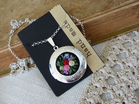 Embroidered locketroses for-get-me not pendant embroidery