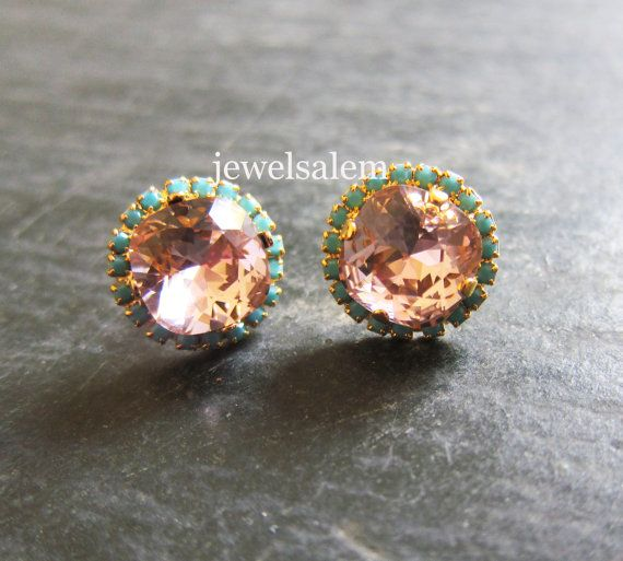 Coral Turquoise Wedding Earrings Bridal Crystal Stud by Jewelsalem, $50.00