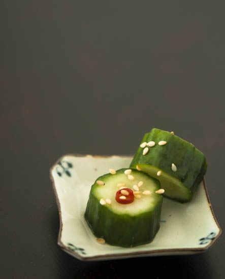 Japanese-Style Pickled Cucumber with Taka-no-Tsume Dried Chili and Goma Sesame Seeds | Tsukemono きゅうりの漬け物