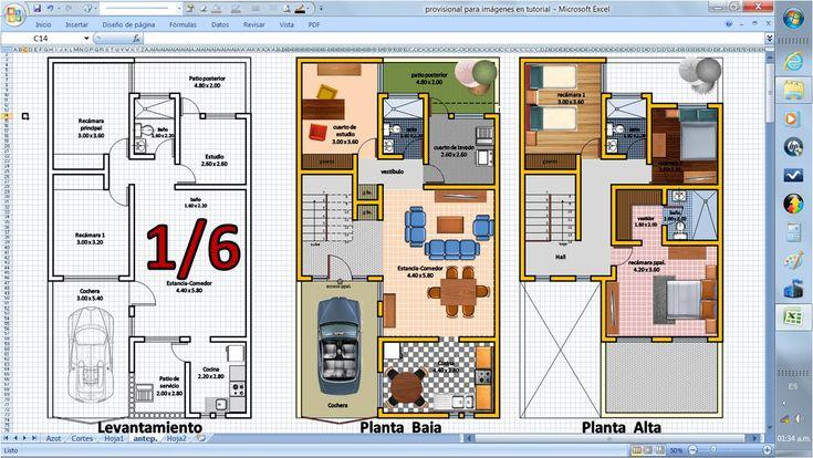 1/6. Como dibujar Planos de Casas. Fácil con Excel. Ampliación Casa Ante...