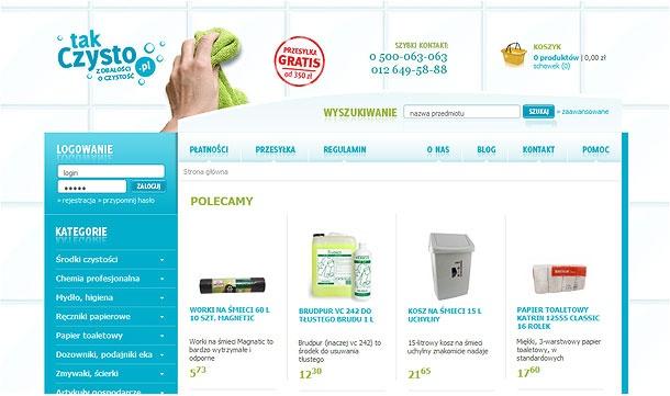Kompleksowa obsługa sklepu internetowego takCzysto.pl